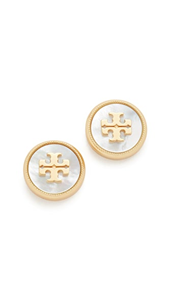 Tory Burch Semi Precious Earrings - Mother of Pearl/Vintage Gold