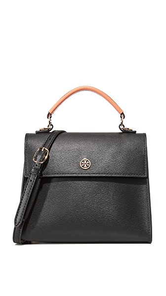 Tory Burch Parker Colorblock Small Top Handle Satchel - Black/Vachetta