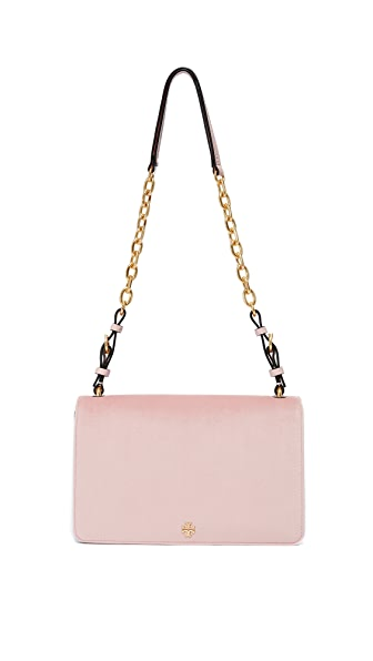 Tory Burch Sadie Velvet Shoulder Bag - Sadie Pink