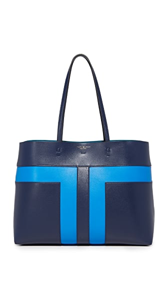 Tory Burch Block T Pieced Tote - Tory Navy/Galleria Blue