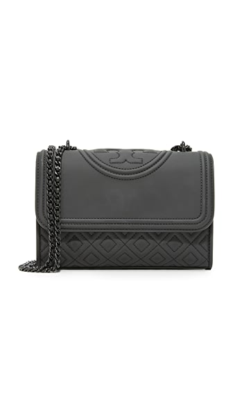 Tory Burch Fleming Matte Small Shoulder Bag - Matte Black