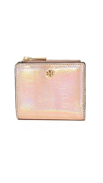 Tory Burch Robinson Metallic Mini Wallet - Rose Gold