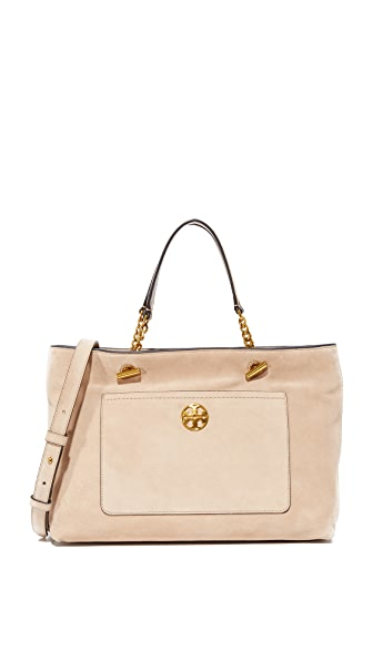 Tory Burch Chelsea Suede Satchel In Stucco Suede