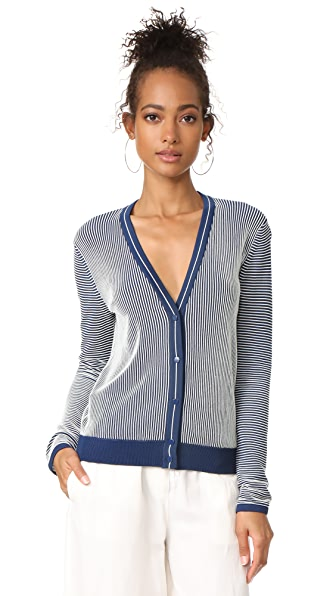 Tory Burch Kara Cardigan - Pottery Blue/Ivory