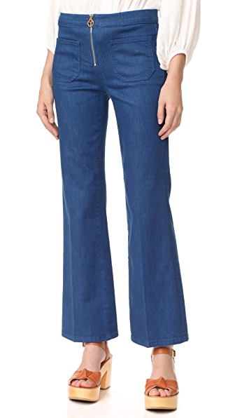 Tory Burch Luisa Zip Front Flare Jeans - Rinse