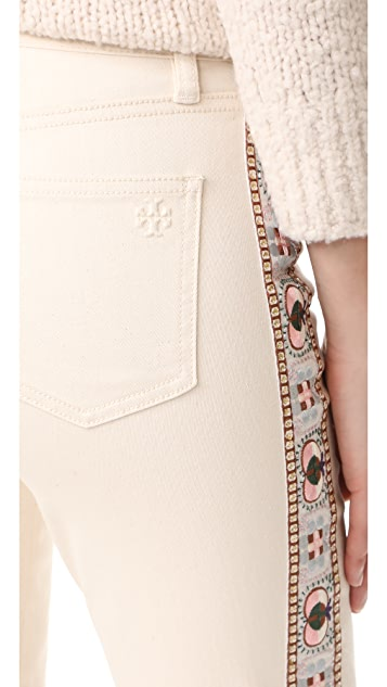 Tory Burch Sandy Embroidered Crop Jeans