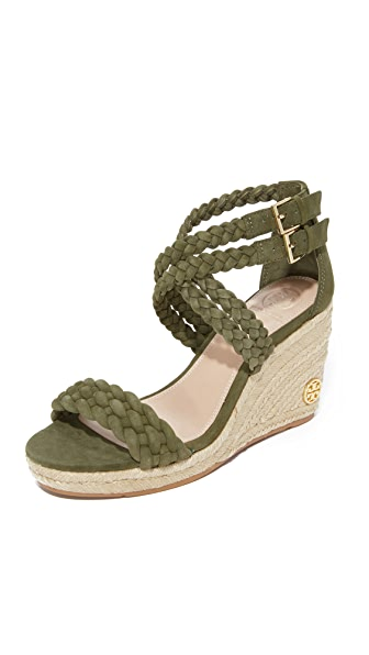 Tory Burch Bailey 90mm Ankle Strap Wedge Espadrilles In Banana Leaf
