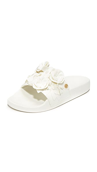 Tory Burch Blossom Slides - White
