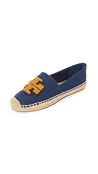 Tory Burch Elisa Logo Espadrilles - Pottery Blue/India Gold
