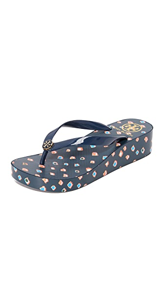 Tory Burch Wedge Flip Flops In Mini Fiori/Tory Navy