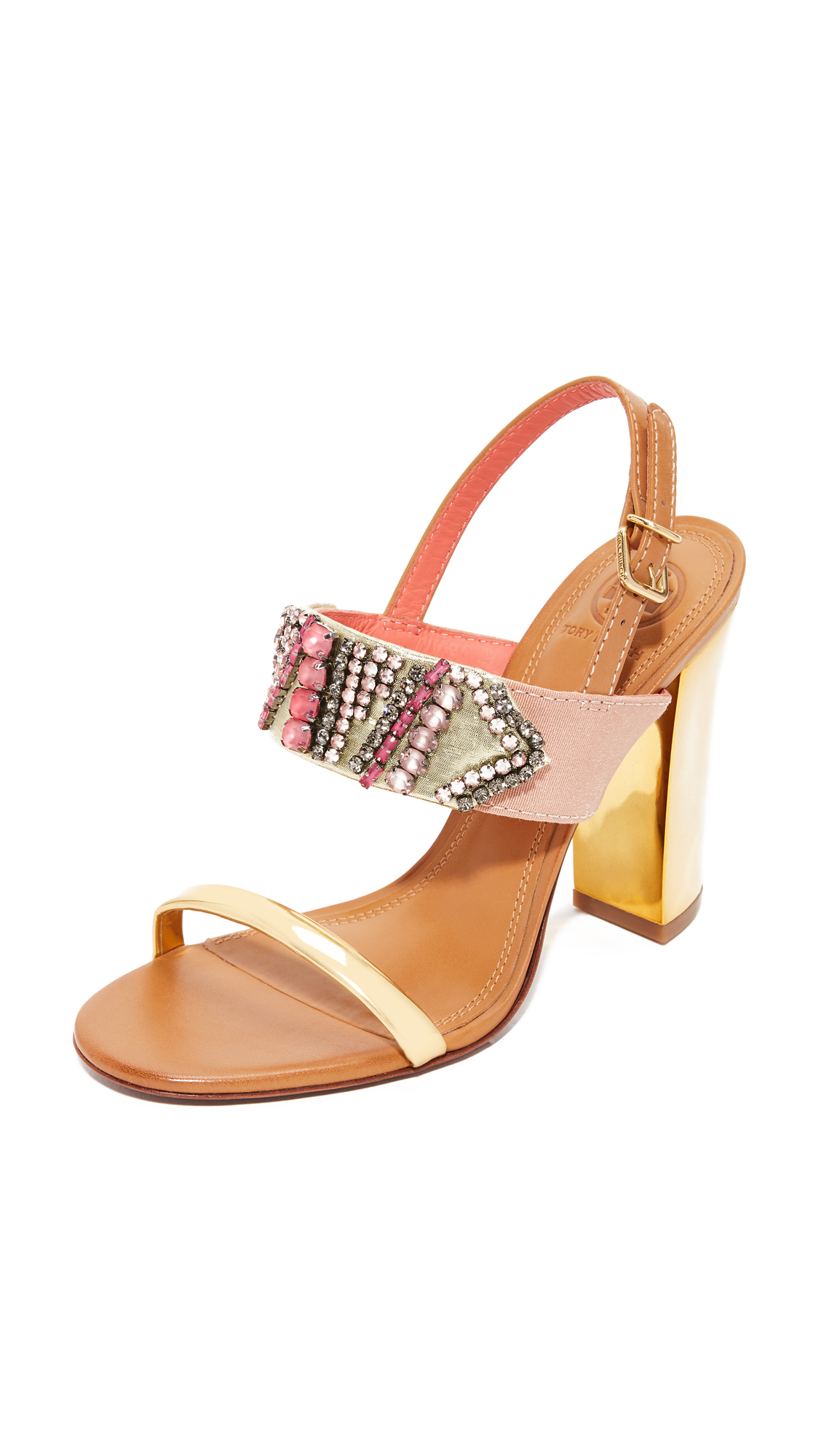 Tory Burch Tanner 100mm Sandals - Strawberry Pink/Royal Tan/Gold