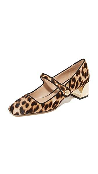 Tory Burch Marisa 40mm Mary Jane Pumps - Natural Leopard/Black