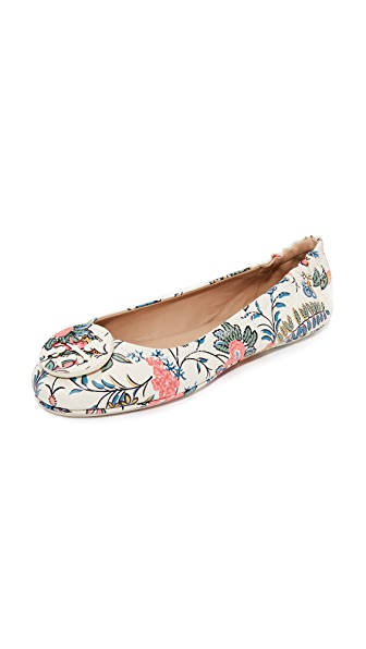 Tory Burch Minnie Travel Ballet Flats - Gabriella Floral/New Ivory