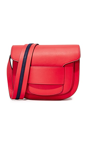 Tory Burch Modern Buckle Cross Body Bag - Cherry Apple/Royal Navy