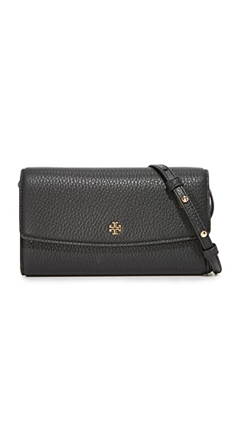 Tory Burch Robinson Pebbled Cross Body Bag - Black
