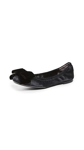 Tory Burch Viola Bow Ballet Flats In Black/Black
