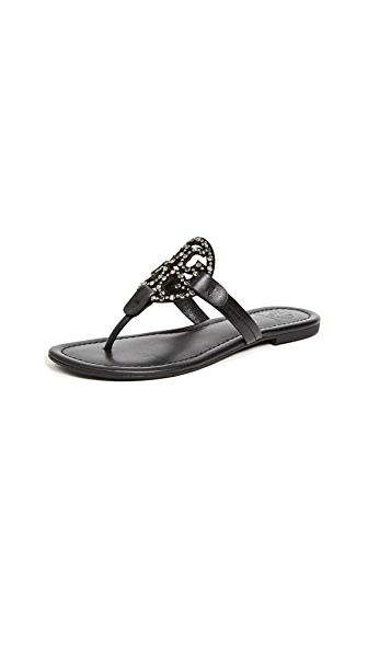 Miller Embellished Sandals, Black/Black