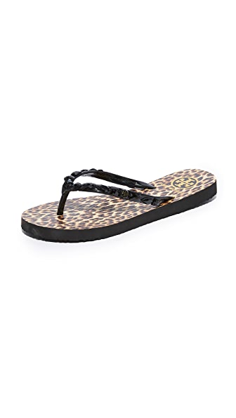 Tory Burch Embellished Thin Flip Flops - Black/Leopard