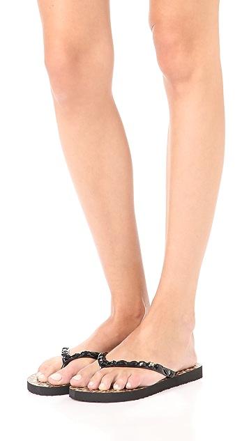 Tory Burch Embellished Thin Flip Flops