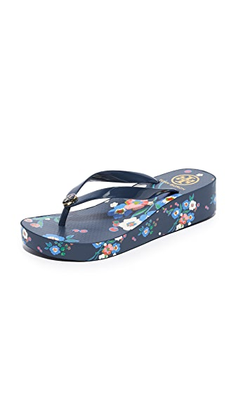 Tory Burch Wedge Thin Flip Flops - Pansy Bouquet