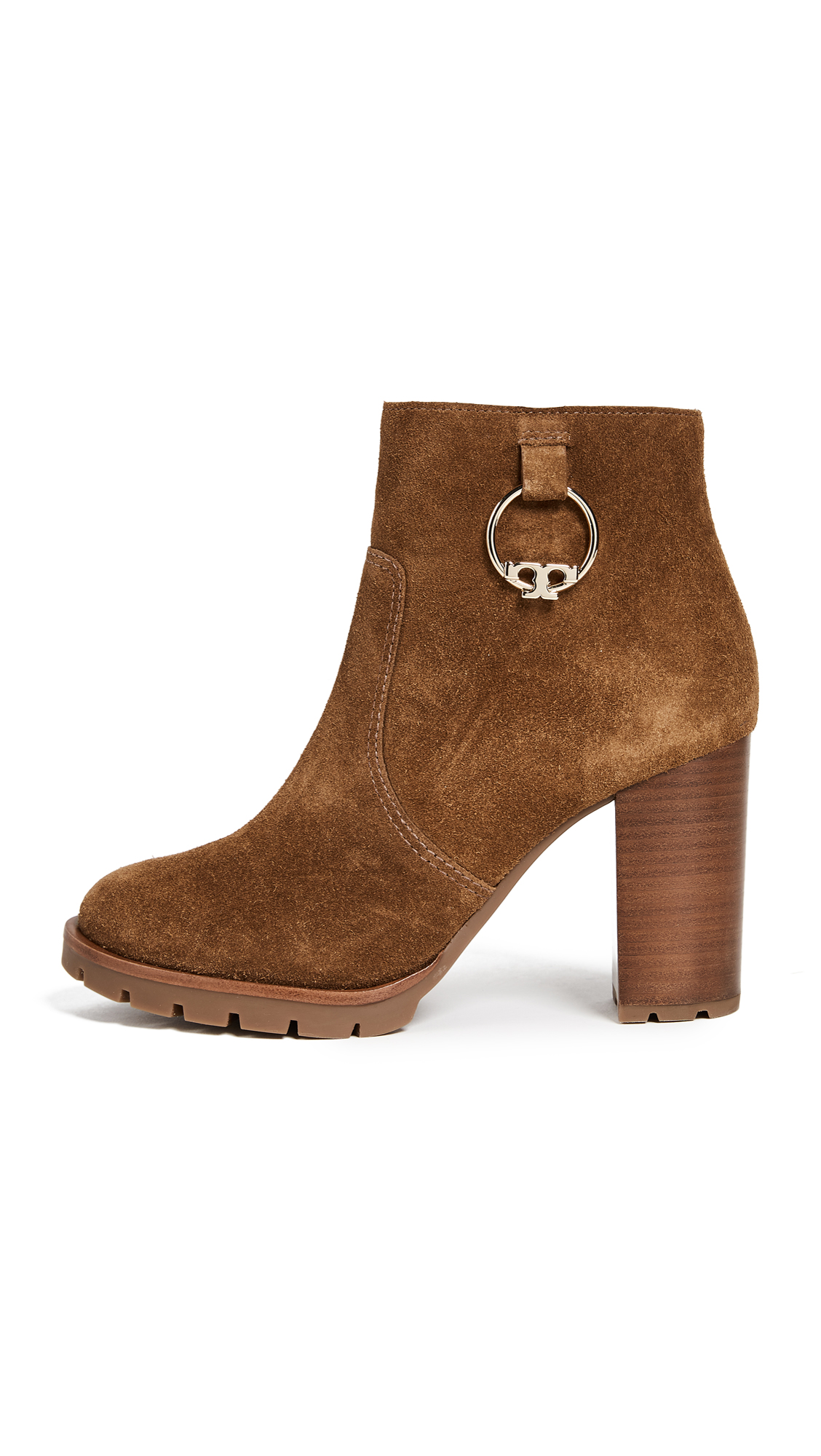 Tory Burch Sofia 80MM Lug Sole Booties - Festival Brown