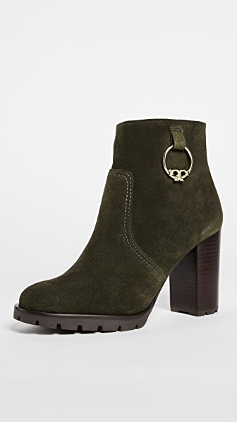 Tory Burch Sofia 80MM Lug Sole Booties - Dark Boxwood