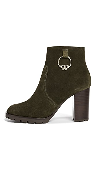 Tory Burch Sofia 80MM Lug Sole Booties In Dark Boxwood
