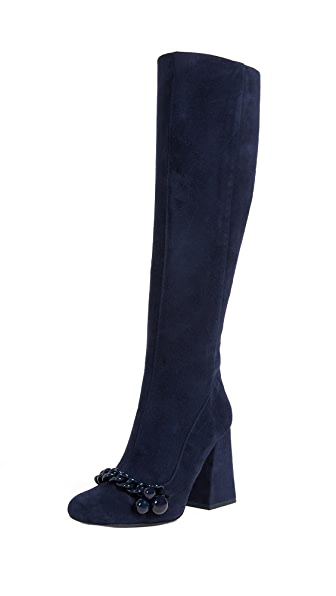 Tory Burch Addison 110mm Boots In Royal Navy
