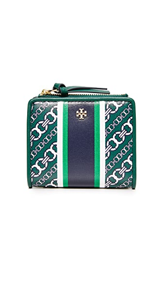 Tory Burch Gemini Link Mini Wallet In Green