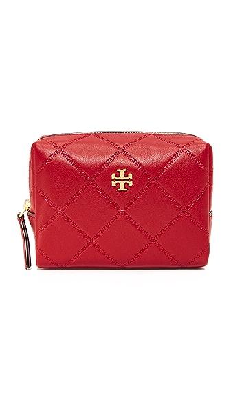 Tory Burch Georgia Small Makeup Bag In Liberty Red