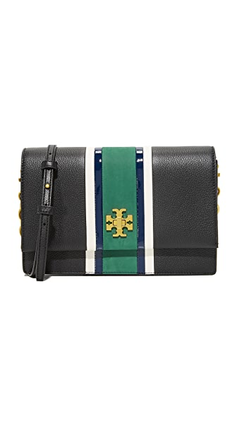 Tory Burch Georgia Stripe Convertible Cross Body Bag - Black Multi