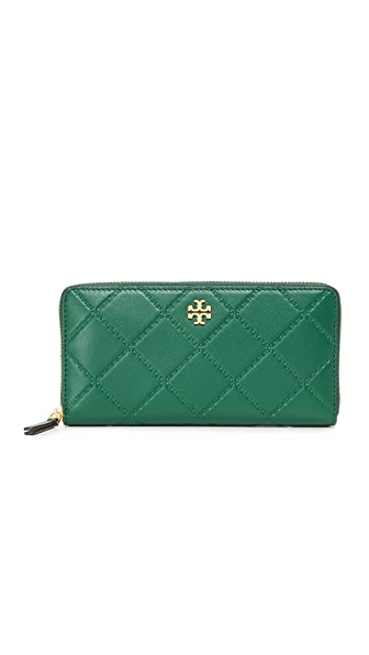 Tory Burch Georgia Zip Continental Wallet In Malachite
