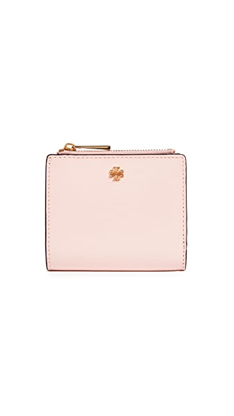 Tory Burch Robinson Patent Mini Wallet In Shell Pink