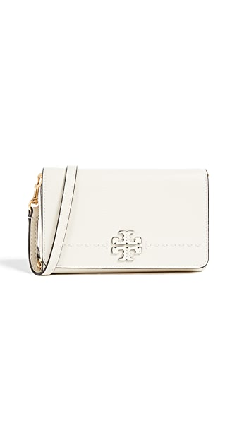 Tory Burch Mcgraw Flat Wallet Cross Body Bag In New Ivory