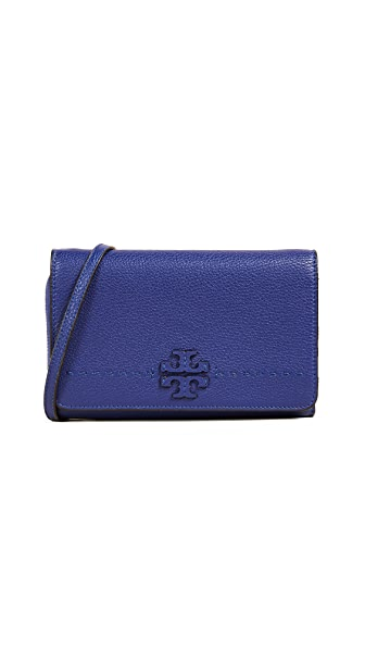 Tory Burch Mcgraw Flat Wallet Cross Body Bag In Blue Dahlia