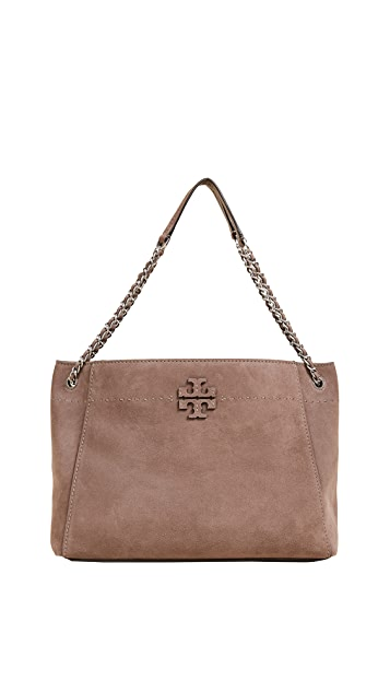 Tory Burch Mcgraw Suede Chain Shoulder Slouchy Tote