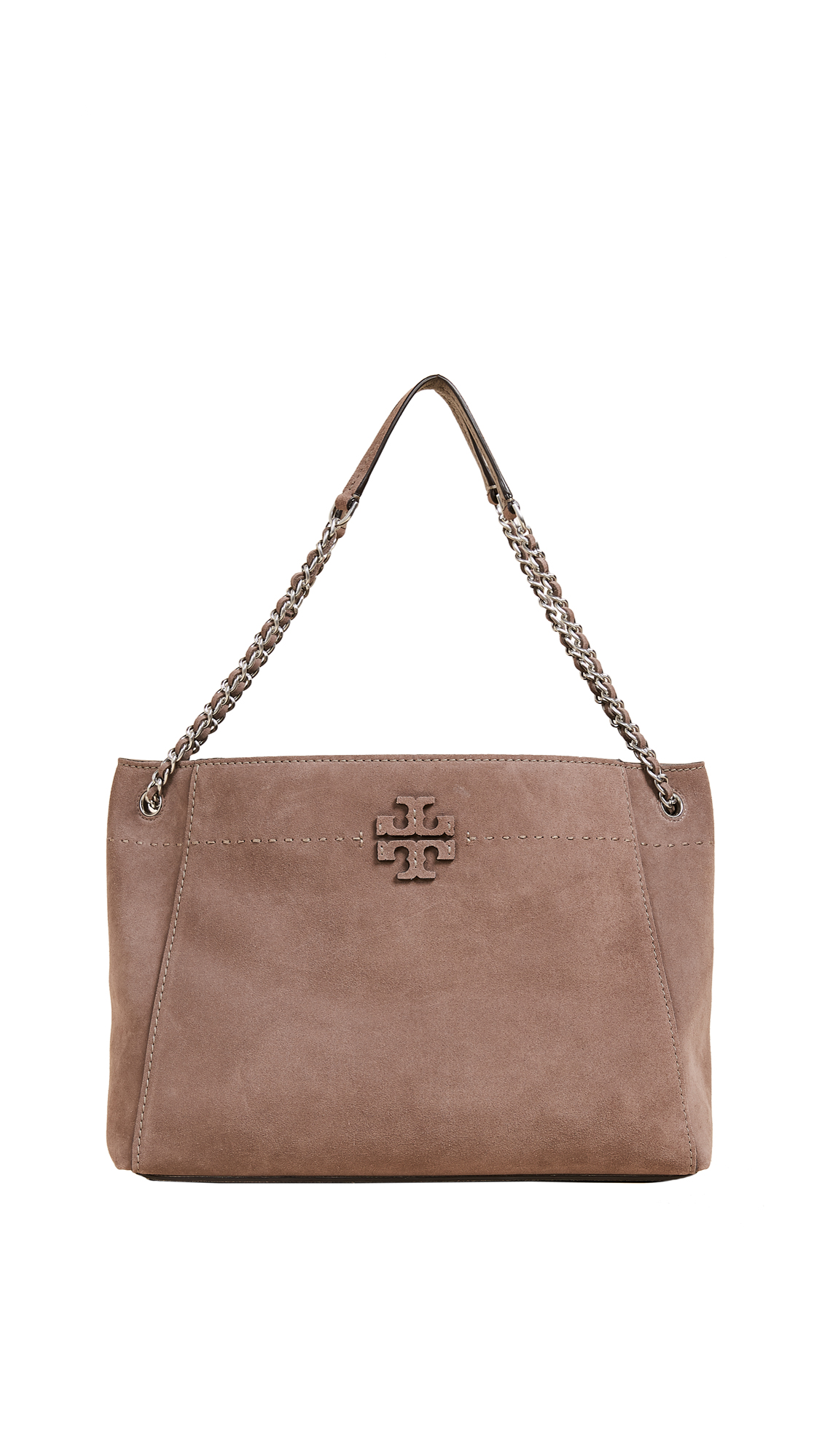 Tory Burch Mcgraw Suede Chain Shoulder Slouchy Tote - Silver Maple