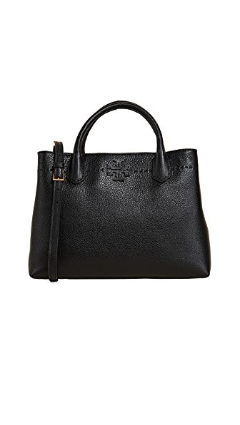 Tory Burch Mcgraw Triple Compartment Satchel In Black