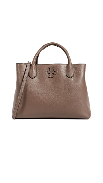 Tory Burch Mcgraw Triple Compartment Satchel In Silver Maple
