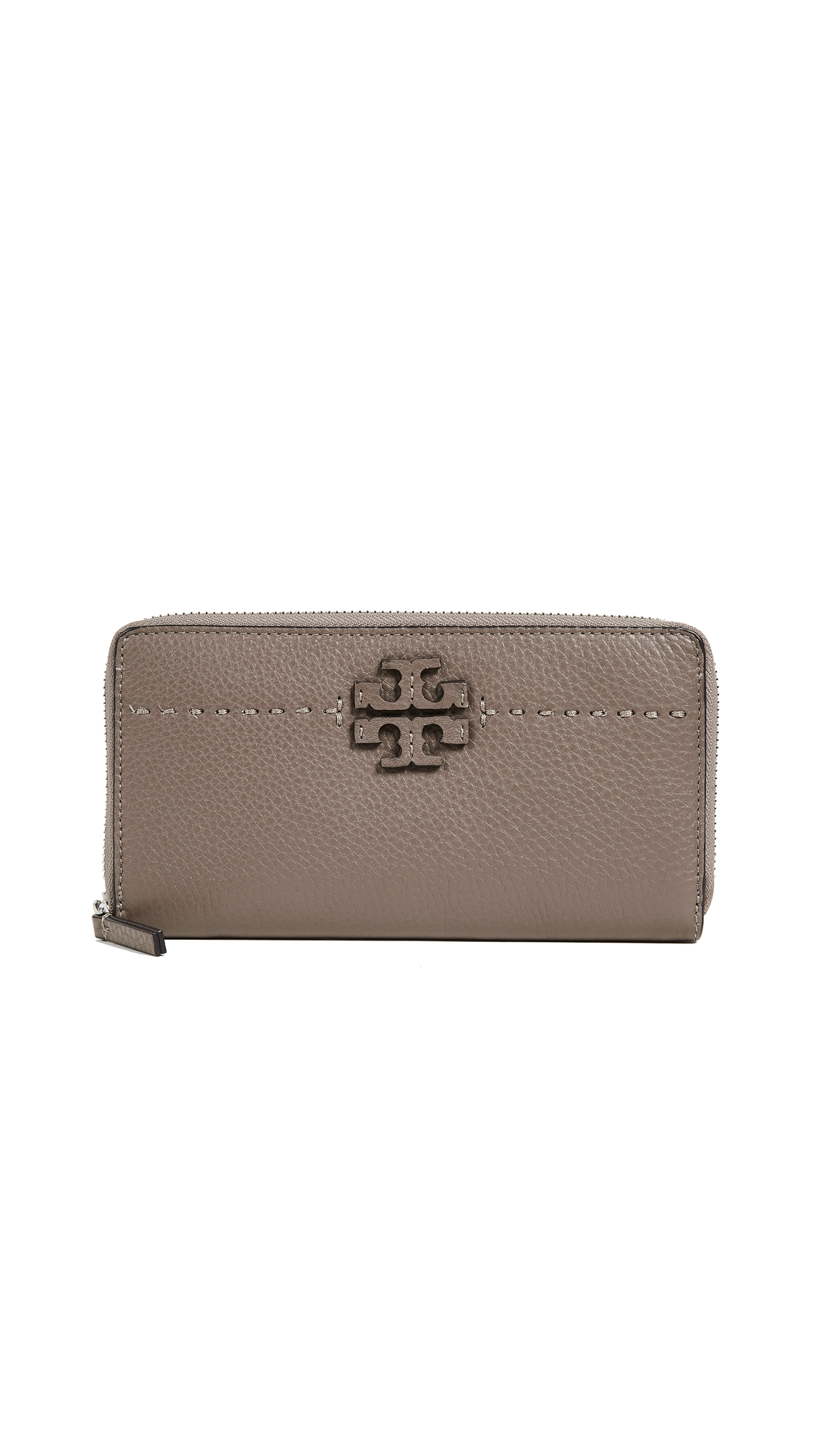 Tory Burch Mcgraw Zip Continental Wallet - Silver Maple