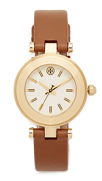 Tory Burch The Classic T Leather Watch - Gold/Ivory/Luggage