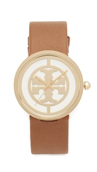 Tory Burch The Reva Leather Watch - Gold/Ivory/Luggage