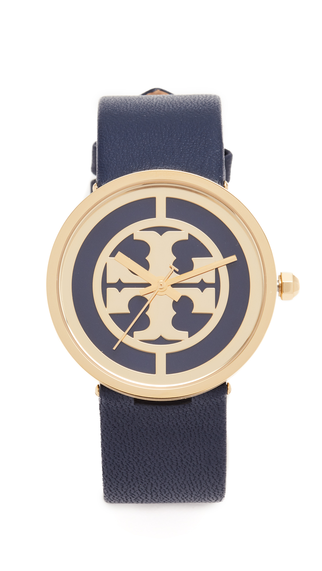 Tory Burch The Reva Leather Watch - Gold/Navy