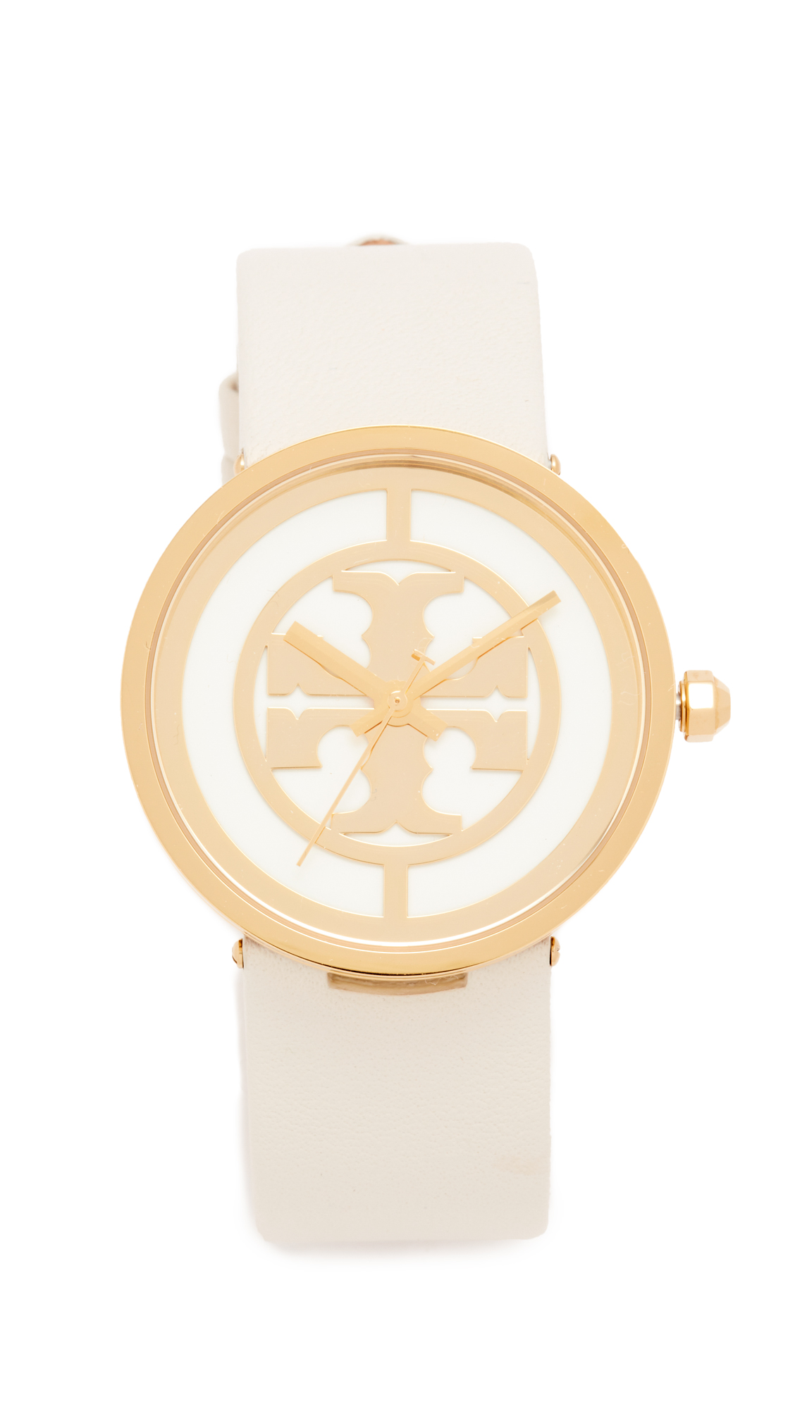 Tory Burch The Reva Leather Watch - Gold/Ivory