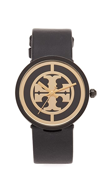 Tory Burch The Reva Leather Watch - Black/Gold