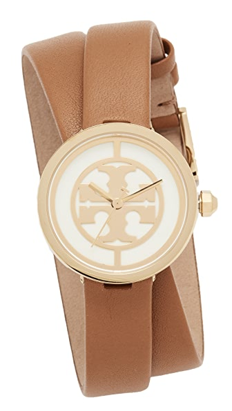 Tory Burch The Reva Leather Wrap Watch - Gold/Ivory/Luggage
