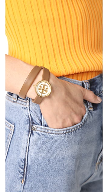 Tory Burch The Reva Leather Wrap Watch