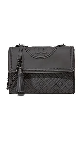 Tory Burch Fleming Matte Shoulder Bag - Black