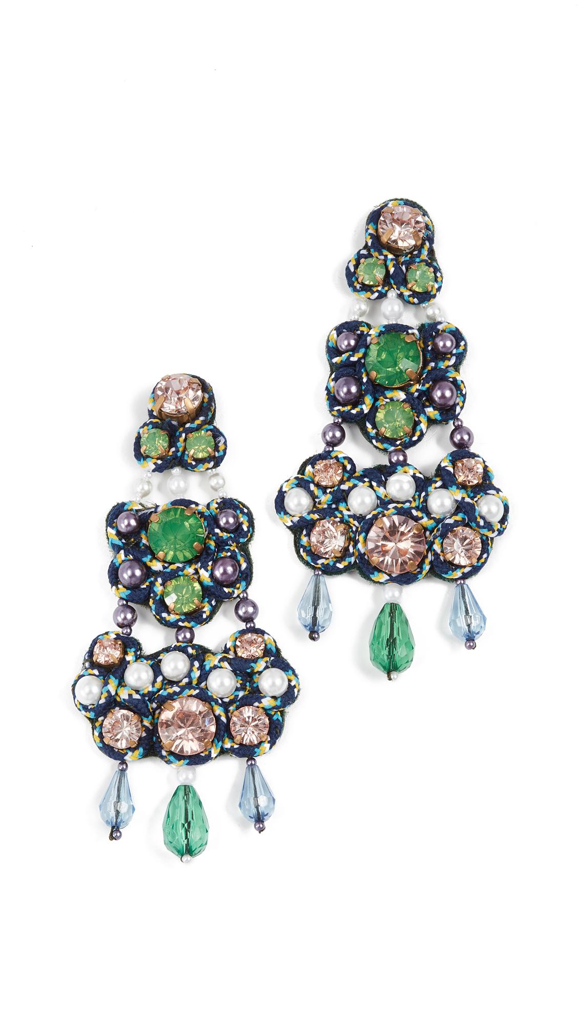 Tory Burch Beaded Chandelier Earrings - Turquoise/Green/Blue