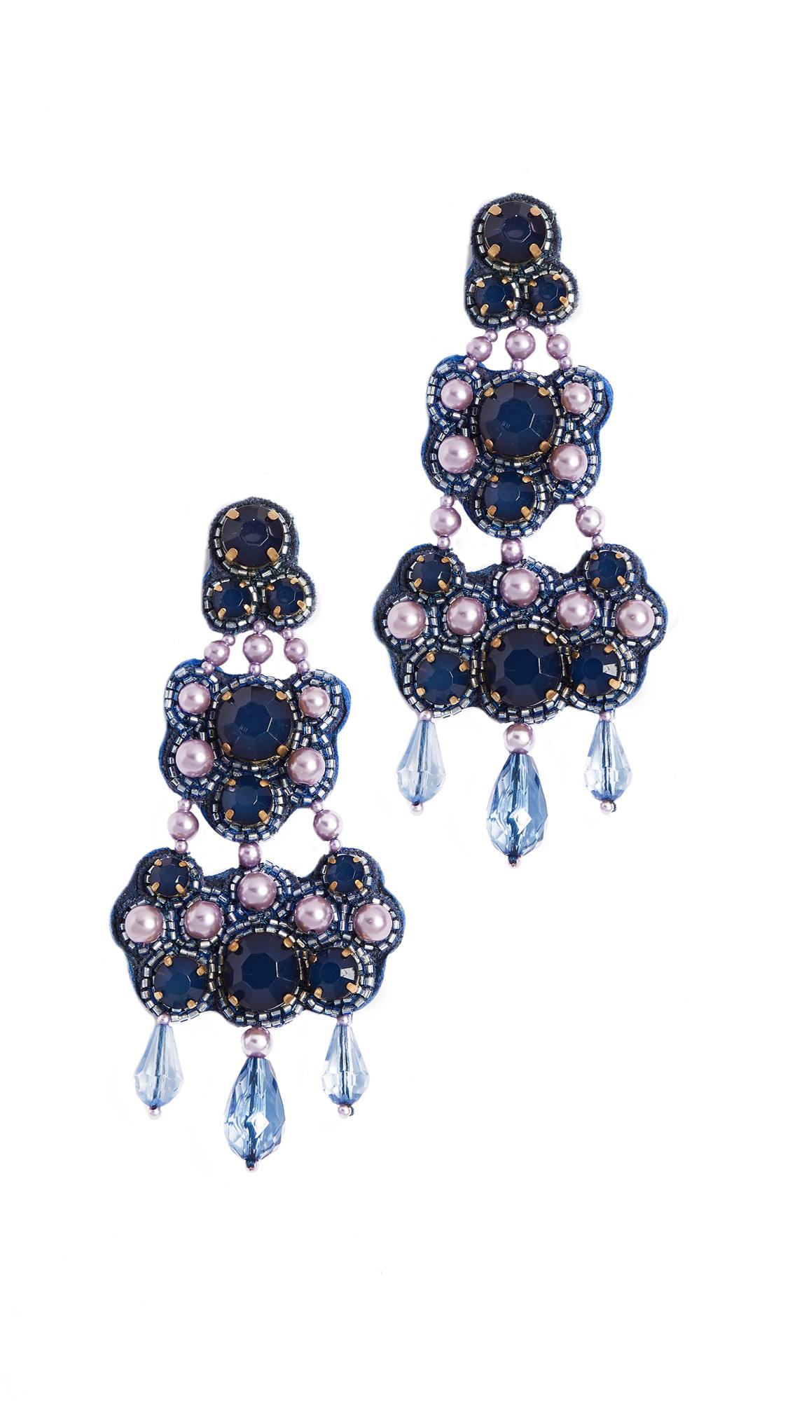 Tory Burch Beaded Chandelier Earrings - Bing Blue/Vintage Gold